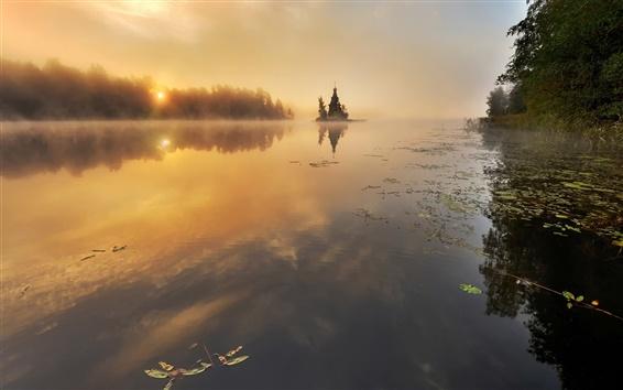 Обои Река Вуокса, Россия, осень, деревья, рассвет, туман