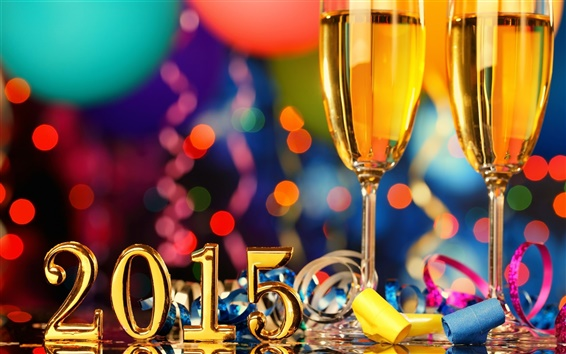 Wallpaper 2015 New Year, champagne glasses