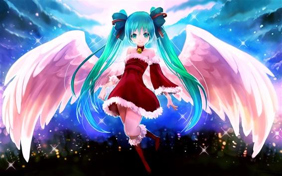 Обои Аниме девушка, синие волосы, крылья