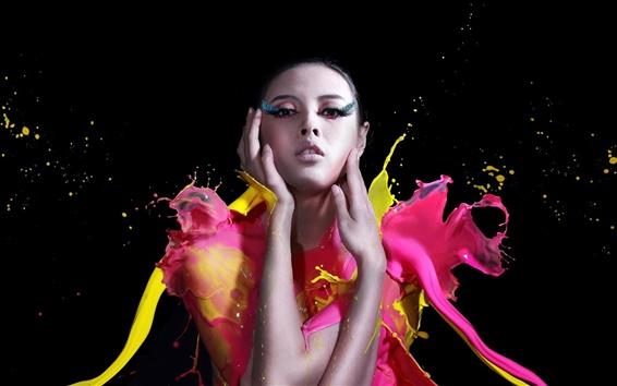 Обои Искусство фотографии, краска, девушка, мода