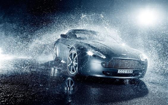 Wallpaper Aston Martin V8 Vantage car in rain