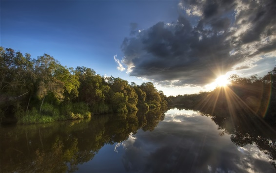 Wallpaper Australia, National Park, forest, trees, river, sunset