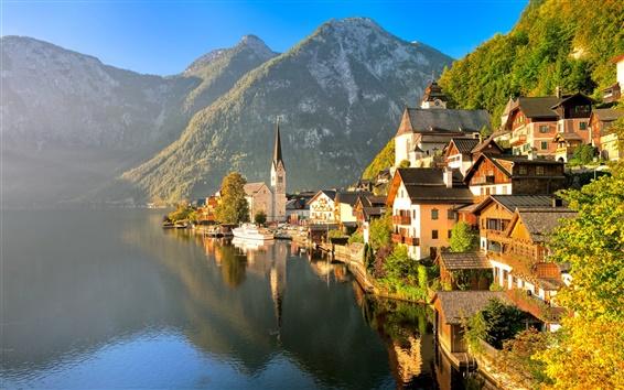 壁紙 オーストリア、ハルシュタット、ザルツカンマーグート、秋、家、湖、山、日光