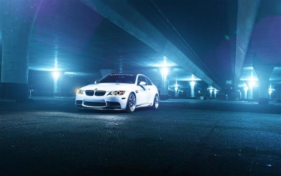 Wallpaper BMW M3 E92 white car at night, lights