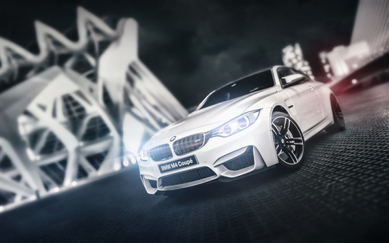 Обои BMW M4 Coupe F82 белый автомобиль вид спереди