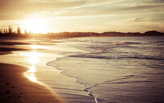 Fond d'écran Plage, sable, vagues, le soleil, la mer