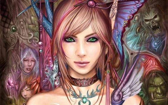 Wallpaper Beautiful fantasy girl, green eyes, brown hair