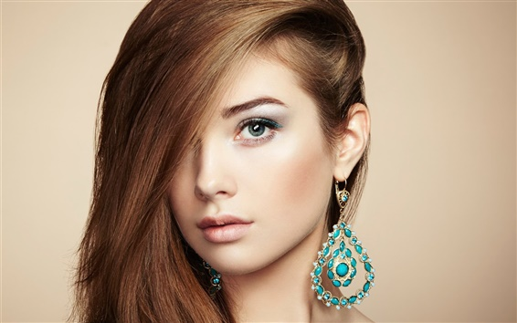 Wallpaper Beautiful young girl, Jewelry and accessories, perfect makeup