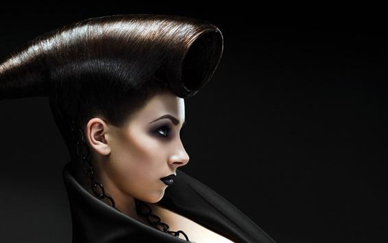 Wallpaper Black hair girl, creative hairstyle
