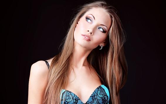 Fond d'écran Vêtements Blue girl, cheveux longs