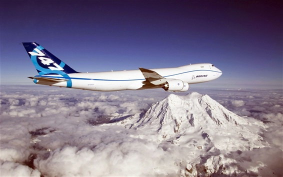 Wallpaper Blue sky, Boeing 747 aircraft, mountains, clouds