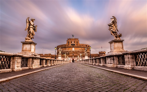 Wallpaper Castel Sant'angelo, Rome, Italy, paving stone, sculpture