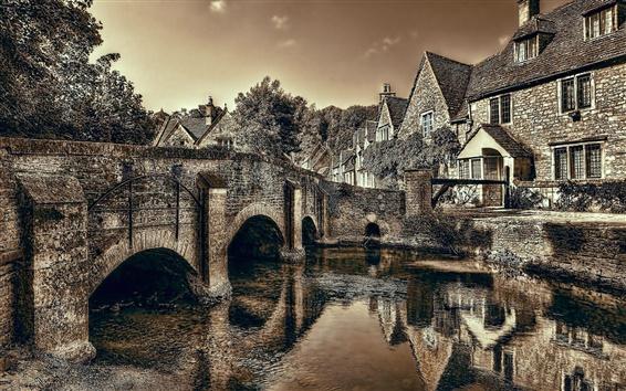 Wallpaper Castle Combe, Wiltshire, England, bridge, river, dusk