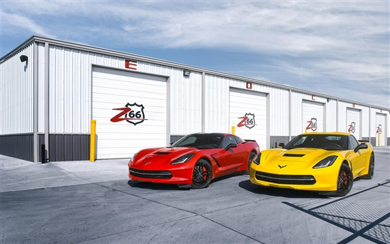 Wallpaper Chevrolet Corvette C7 Stingray red yellow supercars