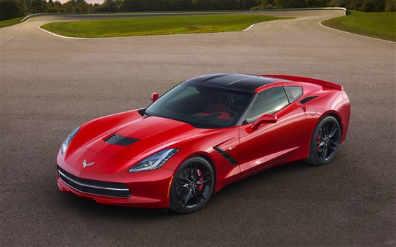 Wallpaper Chevrolet Corvette C7 red sports car