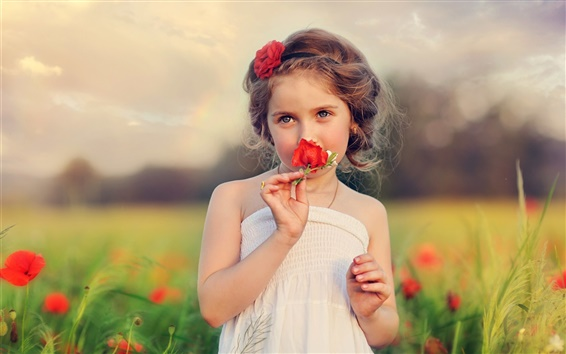 Wallpaper Child, beautiful girl, flowers