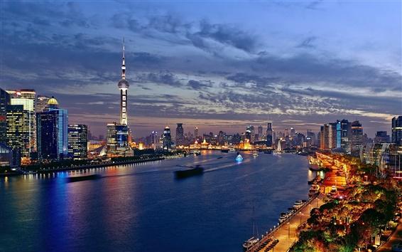 Wallpaper China, Shanghai, city night, lights, river, buildings