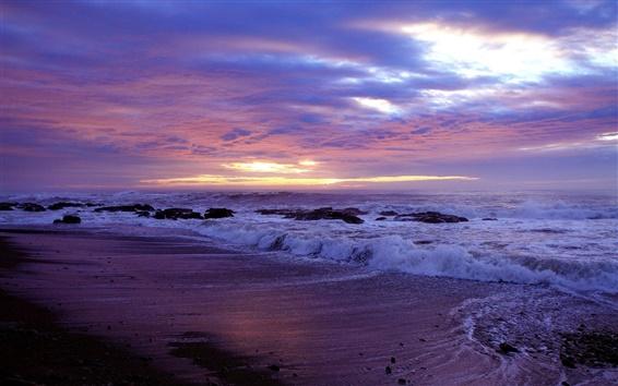 Fond d'écran Côte, plage, rochers, la mer, les vagues, coucher de soleil