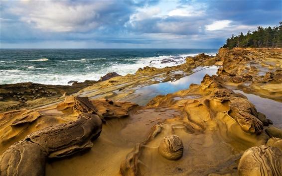 Fondos de pantalla Costa, rocas, agua, ondas, cielo, nubes