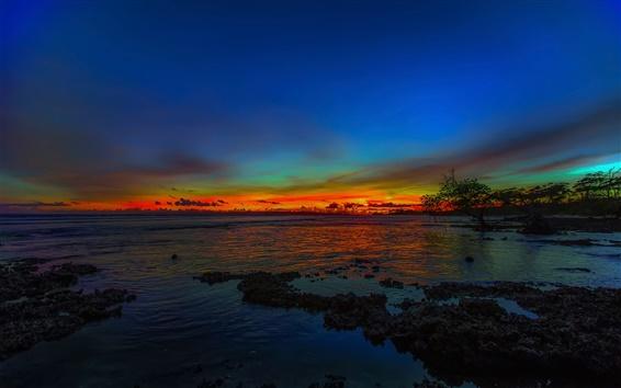 Wallpaper Coast, sea, sunset, dusk, evening