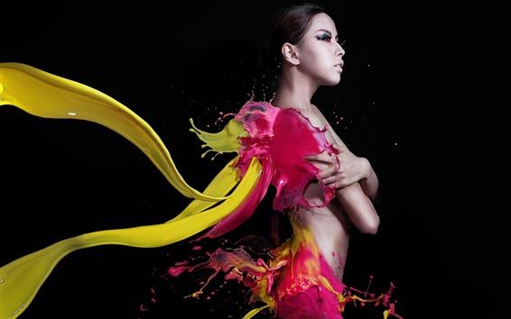 Обои Творческие фотографии, девочка, красочные краски, стиль