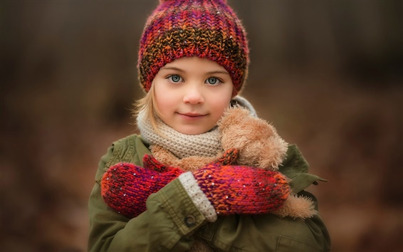 Wallpaper Cute little girl, smile, portrait, hat