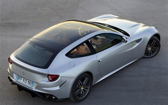 Обои Ferrari FF серебро GT суперкар вид сверху