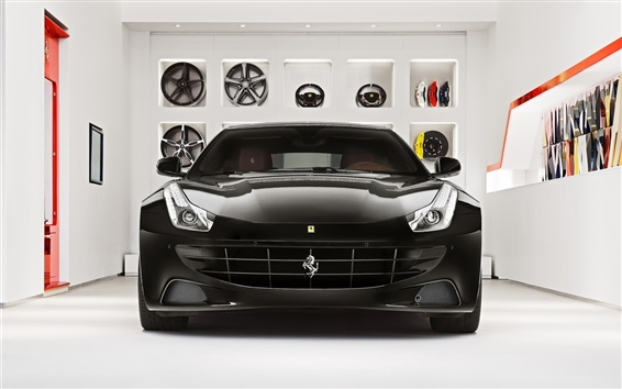Wallpaper Ferrari FF black supercar front view