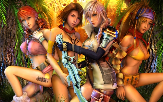 Wallpaper Final Fantasy XIII, beautiful girls