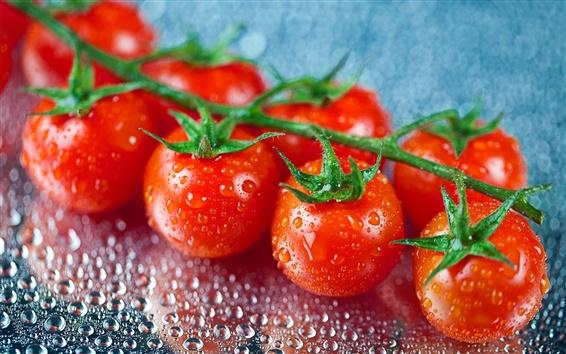 Wallpaper Fresh fruit, tomatoes, water drops
