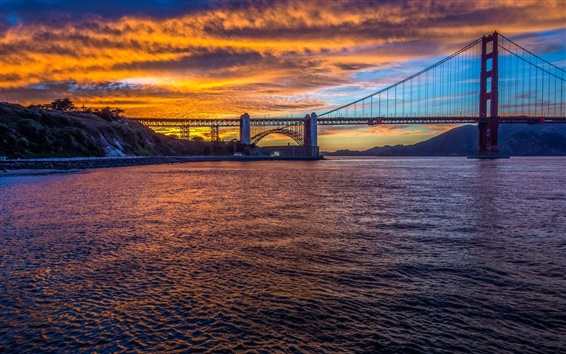 Обои Мост Золотые Ворота, Сан-Франциско, Калифорния, США, город, вечер, пролив