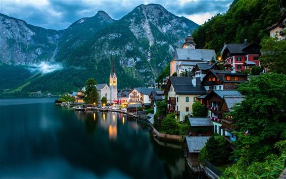 Wallpaper Hallstatt, Salzkammergut, Austria, mountains, evening, lake, boats, houses