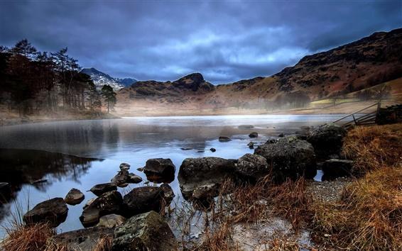 Fond d'écran Hills, lac, forêt, rochers, automne