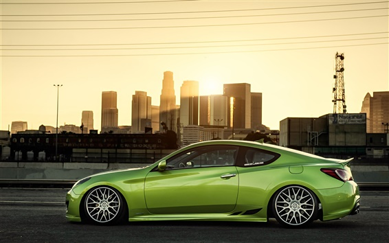 Wallpaper Hyundai Coupe green car side view