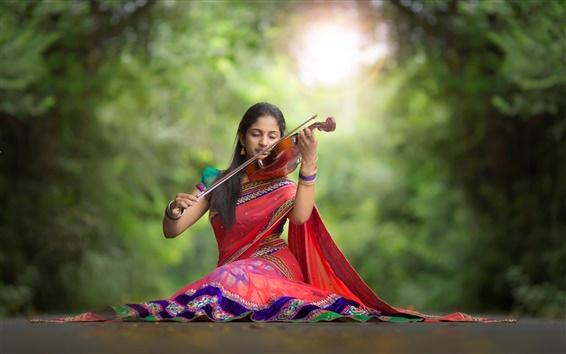 Wallpaper Indian girl, violin, music, road