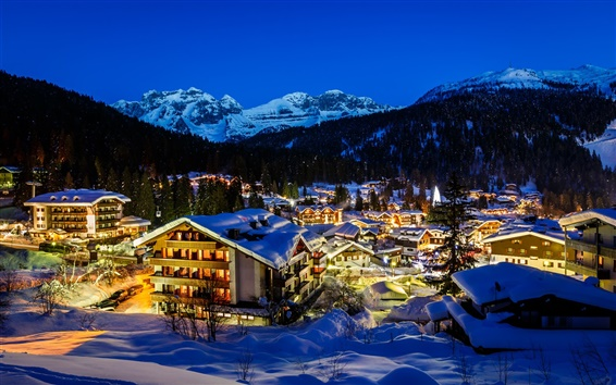 Wallpaper Italy, Alps, mountains, city, snow, trees, lights, night