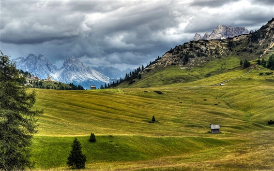 Wallpaper Italy, nature scenery, meadow, Alps, clouds