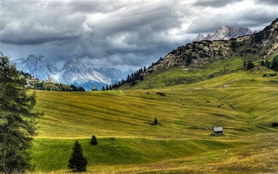 Fond d'écran Italie, paysage de nature, prairie, Alpes, nuages