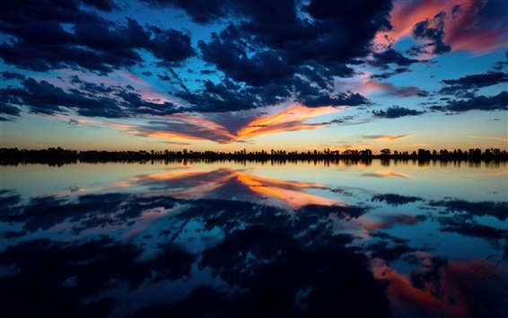 Wallpaper Lake, evening, sky, clouds, water reflection