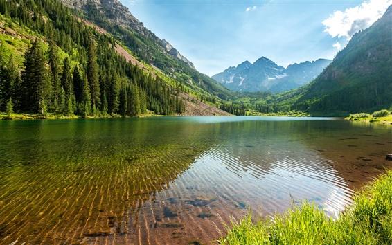 Fondos de pantalla Lago, montañas, árboles, hierba, cielo, la reflexión del agua