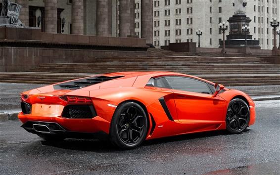 Обои Lamborghini Aventador LP700-4 оранжевый суперкар вид сзади