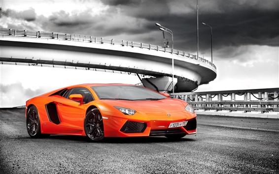 Обои Lamborghini Aventador LP700-4 оранжевые суперкар, дорога, облака