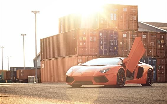 壁紙 ランボルギーニ·アヴェンタドールLP700-4オレンジスーパーカー、太陽、まぶしさ