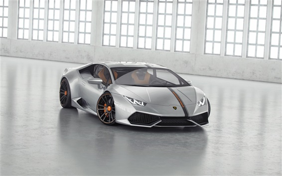 Обои Lamborghini Huracan LP850-4 Lucifero Silver суперкар, вид спереди