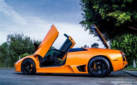 Обои Lamborghini Murcielago LP640 оранжевый суперкар, деревья, дорога