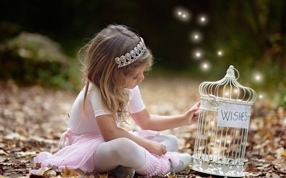 Wallpaper Little girl, wish, autumn