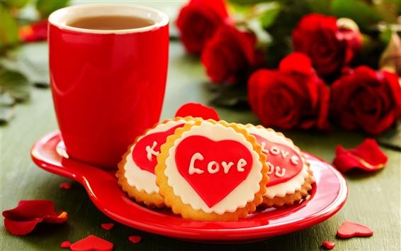 Papéis de Parede Amor coração, biscoitos, flores, rosas, copo, chá
