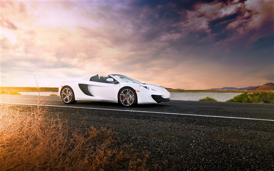 Wallpaper McLaren MP4-12C Spider white supercar, sunset, road