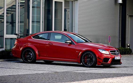 Fond d'écran Mercedes-Benz C63 AMG Coupé voiture rouge vue de côté
