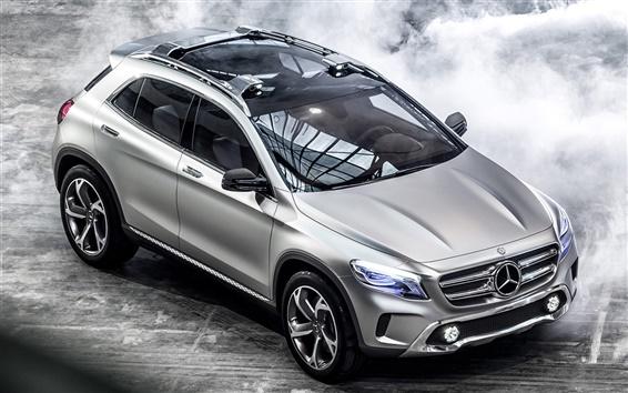 Wallpaper Mercedes-Benz GLA concept car, lights, silver